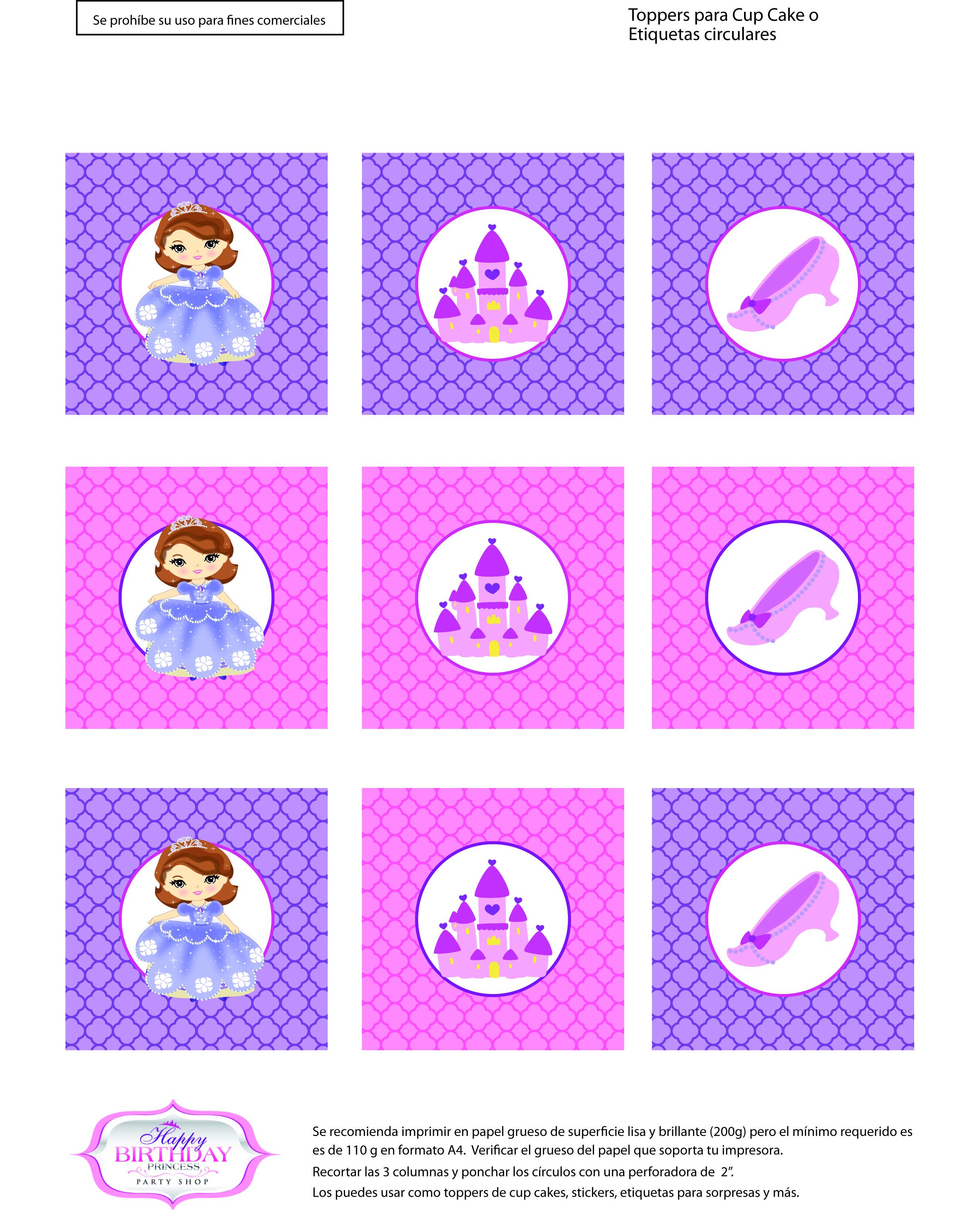 Descarga gratis etiquetas imprimibles de Princesa Sofía – HBD ...